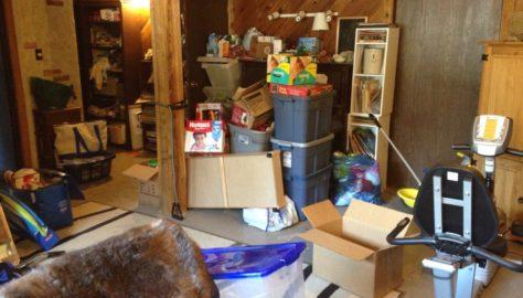 basement full of clutter