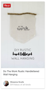 hand lettered wall hanging