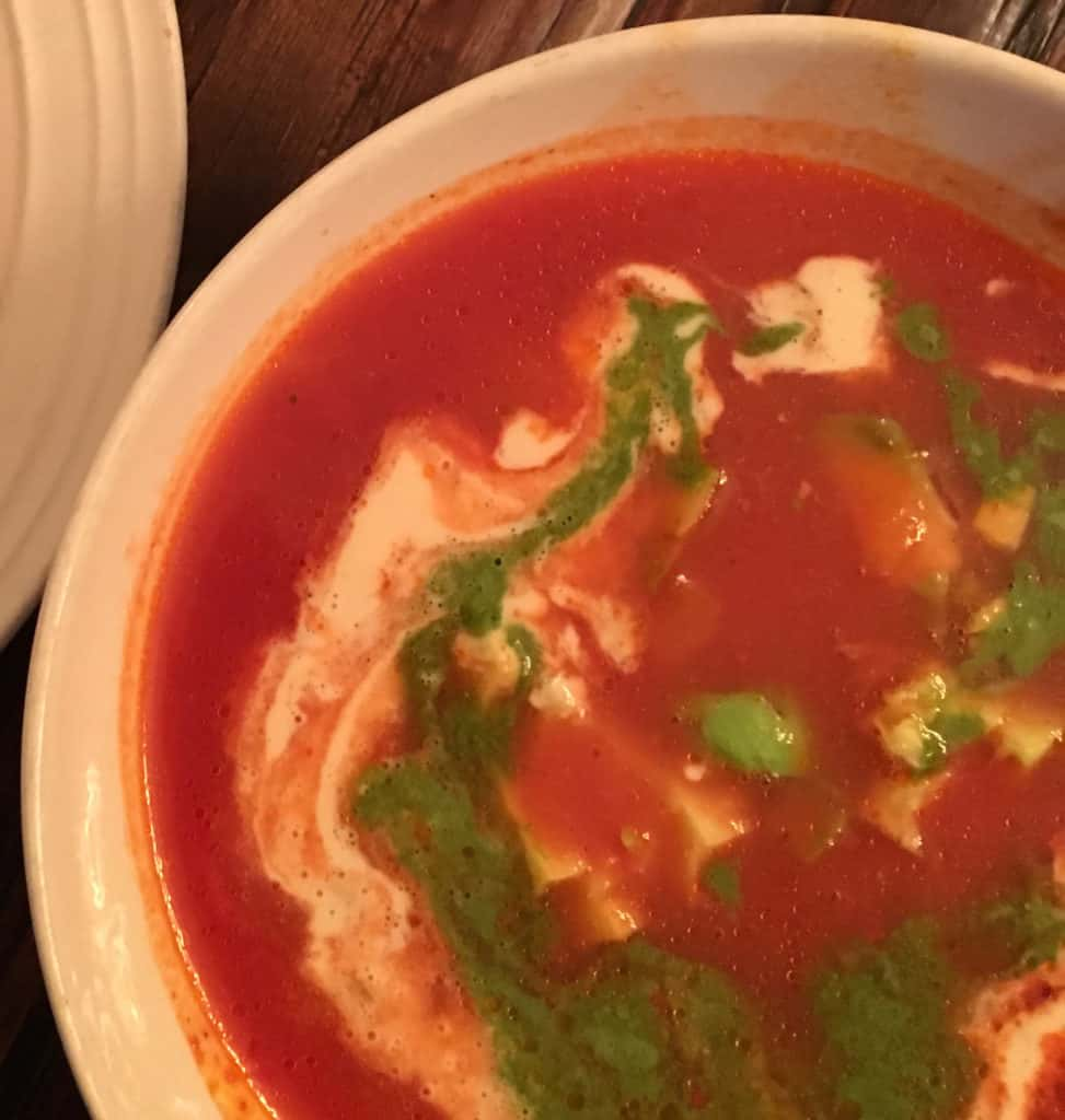whole 30 soup with cashew cream and cilantro