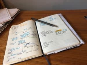 steps to plan your day a bullet journal showing the review for the morning
