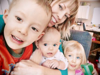 mom with two toddlers and a baby