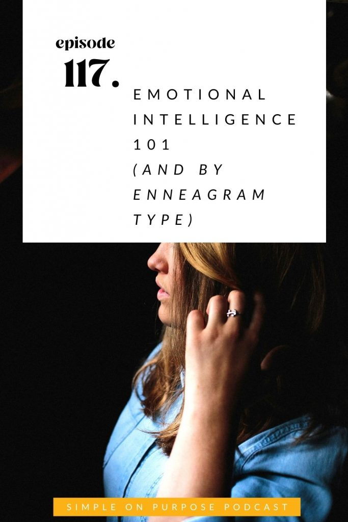 side profile of a woman looking towards the light of the window, her hair obscures the view of her eyes. Text overlay: episode 117: emotional intelligence 101 (and by enneagram type) Simple on Purpose Podcast